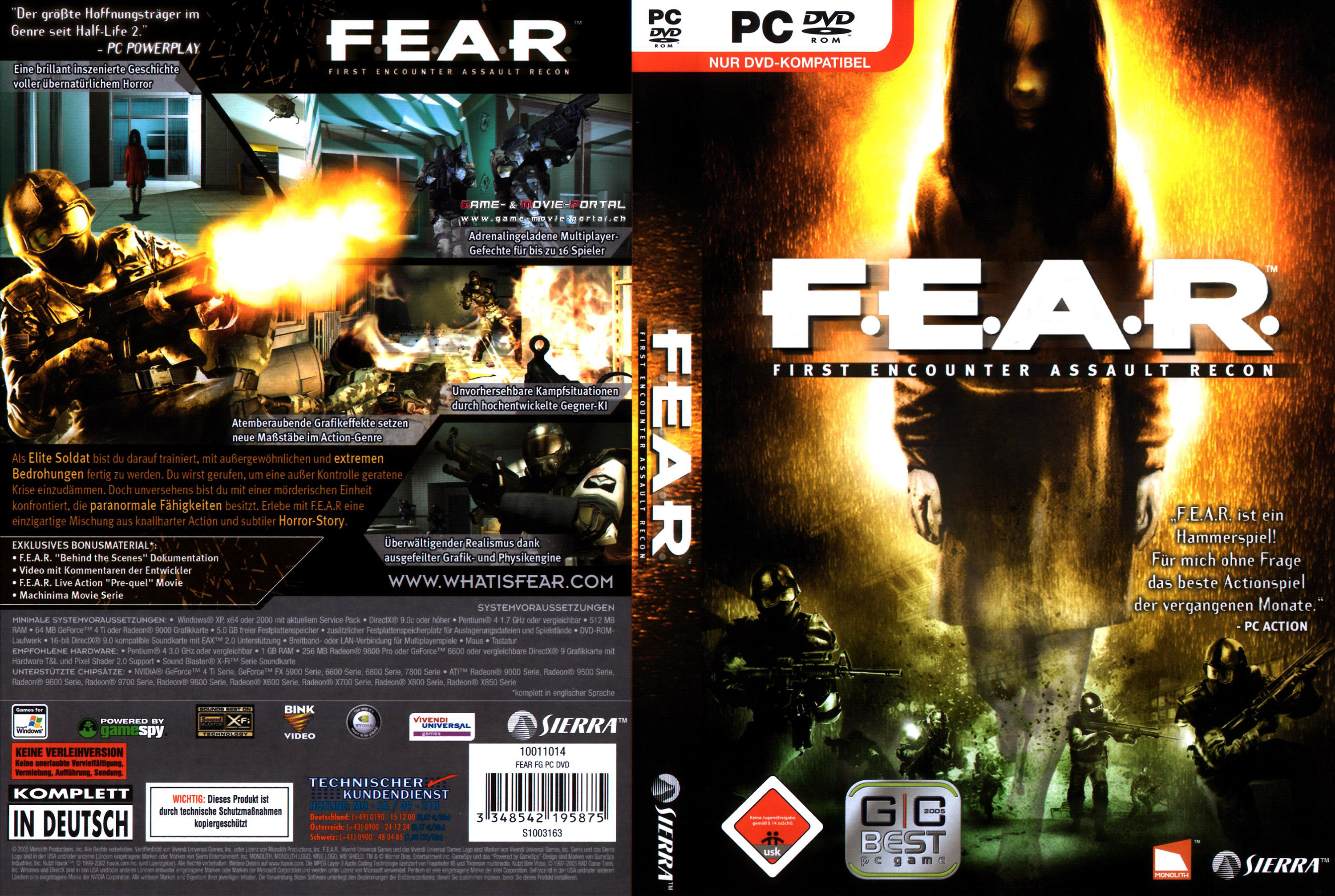 Pc Covers Games Covers Enemy Front Fear F E A R Face Noir